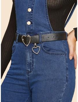 Heart Charm & Heart Shaped Buckle Belt by Sheinside