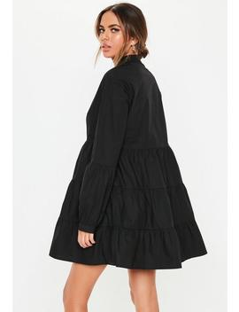 Black Grandad Collar Smock Dress by Missguided