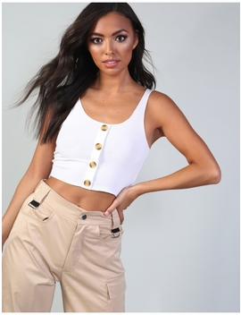 Ivory Horn Button Crop Top by Public Desire