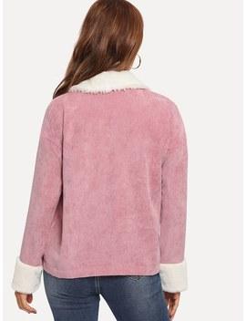 Contrast Faux Fur Detail Drop Shoulder Jacket by Shein