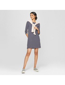 Women's Striped Long Sleeve Knit Dress   A New Day™ by A New Day