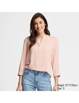 Women Rayon Stand Collar 3/4 Sleeved Blouse by Uniqlo