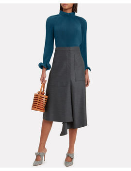 Teal Pleated Crop Top by Tibi
