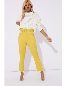 Delphine Yellow Slim Fit Belted Cropped Trousers by In The Style