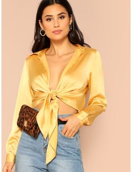 Knot Front Satin Blouse by Shein
