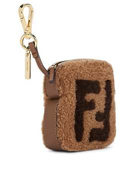 Shearling & Leather Toast Key Pouch by Fendi