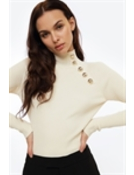Gold Detailed Neck Knit by Chiquelle