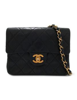Authentic Chanel Mini Matelasse Chain Shoulder Bag Lambskin Leather Black Used by Chanel