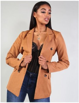 Tan Horn Button Belted Tailored Jacket by Public Desire