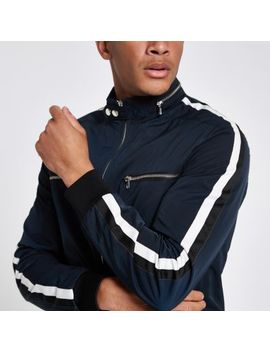 Navy Racer Neck Tape Side Jacket by River Island