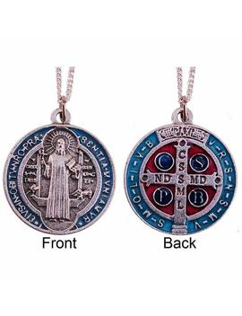 20mm Saint St Benedict Red Blue Enamel Medal Charm Pendant With A 46cm Silver Plated Chain And A 2cm Pewter Love Heart Token In Pewter by Cross My Heart