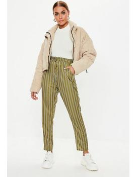 Khaki Stripe Tie Waist Trousers by Missguided