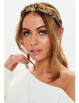 Mustard Snake Print Knot Headband by Missguided