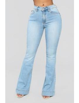 Push For It Flare Jeans   Light Blue Wash by Fashion Nova