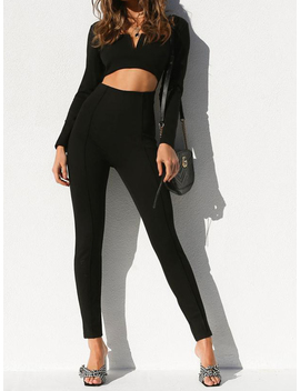 Black V Neck Open Back Long Sleeve Chic Women Jumpsuit by Choies