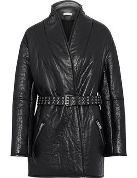 Belted Textured Leather Jacket by Iro