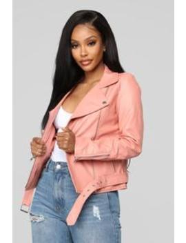 On The Edge Moto Jacket   Pink by Fashion Nova