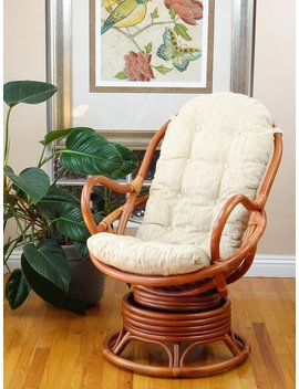 Java Lounge Swivel Rocking Chair Rattan Wicker Handmade W/ Cushion, Colonial by Etsy
