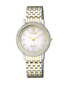 Women's Silhouette Crystal Mother Of Pearl Dial Watch, 29mm by Citizen