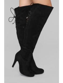 Here I Come Heeled Boot   Black by Fashion Nova