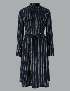 Pure Silk Striped Long Sleeve Shirt Dress by Marks & Spencer
