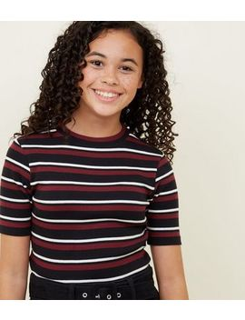 Girls Red Ribbed Stripe T Shirt by New Look