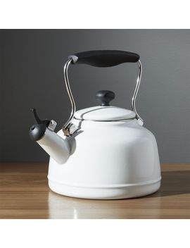 Chantal ®  Vintage White Steel Enamel Tea Kettle by Crate&Barrel