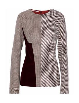 Velvet Paneled Checked Woven Top by Stella Mc Cartney