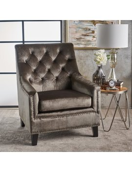 Noble House Cory Tufted Back New Velvet Club Chair, Grey, Dark Brown by Noble House