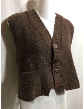 Flax By Angelheart Jeanne Engelhart Brown Wool Knit Sweater Vest Cardigan S M by Flax