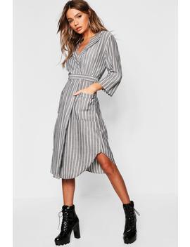Woven Stripe Belted Midi Shirt Dress by Boohoo