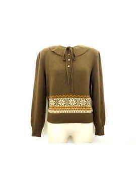 100 Percents Authentic Valentino Garavani Women's Sweater Tops Ribbon Brown Size 40 by Valentino Garavani