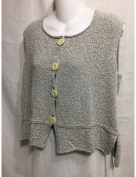 Flax By Angelheart Jeanne Engelhart Gray Cotton Knit Sweater Vest Cardigan M L by Flax