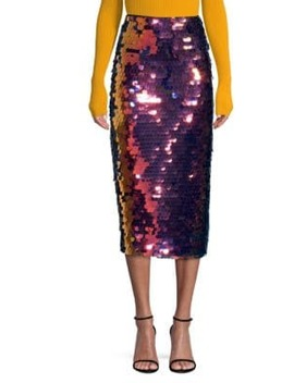 Rainbow Sequin Pencil Skirt by Milly