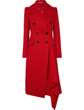 Double Breasted Asymmetric Wool And Cashmere Blend Coat by Alexander Mc Queen