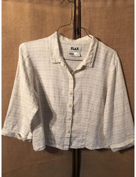 Flax Button Down 3/4 Sleeve Shirt Womens S Small.  Ivory With Pastel Pinstripes by Flax