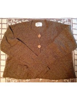 Flax By Angelheart Light Brown Heather Cotton/Merino Wool Cardigan Women's S/M by Flax By Angelheart