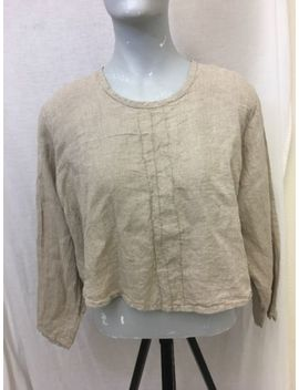 Nwt Flax Engelhart Women's Beige Linen Lagenlook Long Sleeve Crop Shirt Small M2 by Flax