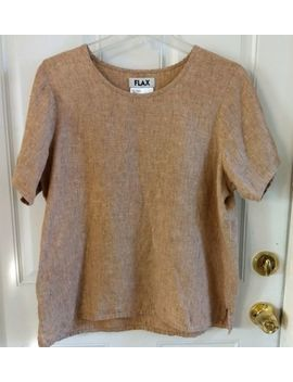 Flax 100 Percents Linen Beige Brown Short Sleeve Top Shirt Blouse Size Womens Small by Flax