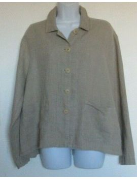 Flax S Brown Linen Button Front Jacket by Flax