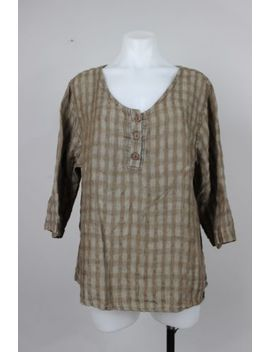 Flax 100 Percents Linen Brown Tattersall Scoop Neck 3/4 Sleeve Oversize Top Medium by Flax