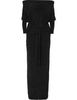 Off The Shoulder Belted Stretch Jersey Dress by Norma Kamali