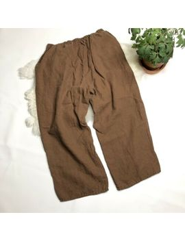 Flax Jeanne Engelhart Linen Flood Crop Pants Chestnut Brown M Generous Fit by Flax