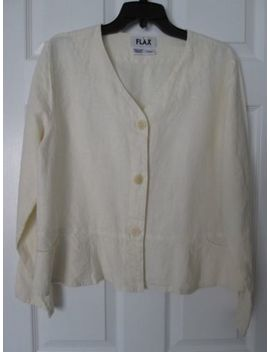 Flax Cream Linen Jacket With Peplum And Pockets by Flax