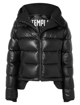 Hooded Tech Jersey And Quilted Leather Down Jacket by Templa