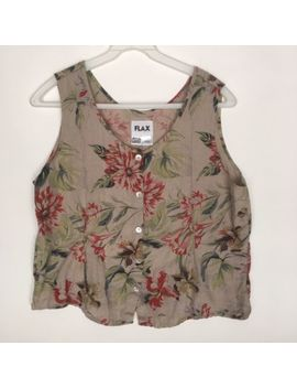 Flax Womens Large Floral 100 Percents Linen Loose Fit Sleeveless Blouse Tank Top by Flax