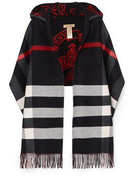 Hooded Checked Intarsia Wool And Cashmere Blend Scarf by Burberry