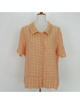 Flax Womens Linen Blouse Shirt Size L Orange Plaid Short Sleeve Button Front by Flax