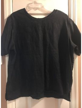 Flax Womens Size Medium Black 100 Percents Linen Top Blouse Short Sleeve Oversized by Flax