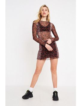 Uo Strawberry Print Panelled Mesh Top by Urban Outfitters